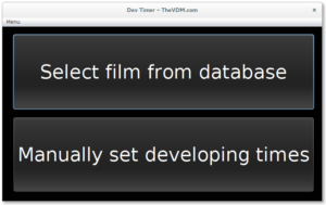 Options to select a film from the database or manually enter film parameters.